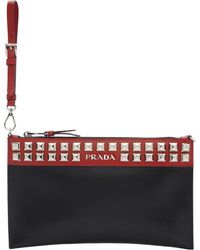 Prada - Black And Red Elektra Pouch - Lyst