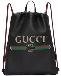 Gucci - Black Leather Drawstring Backpack - Lyst