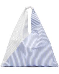 MM6 by Maison Martin Margiela - Blue And White Striped Canvas Tote - Lyst