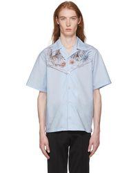Prada - Blue Celeste Native Floral Print Shirt - Lyst