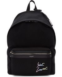 Saint Laurent - Black Canvas Embroidered City Backpack - Lyst