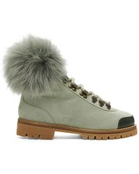 Mr & Mrs Italy - Green Suede Shearling Boots - Lyst