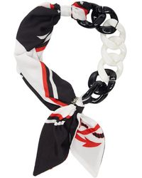 MSGM - White And Black Chain Scarf Necklace - Lyst