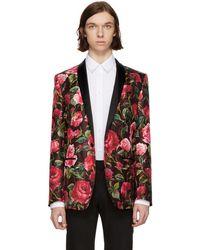 Dolce & Gabbana - Red Silk Rose Single-button Blazer - Lyst