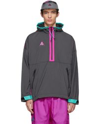Nike - Grey And Purple Grid Track Jacket - Lyst