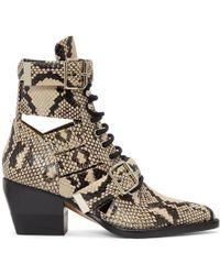 Chloé - Rylee Python-print Lace-up Boots - Lyst