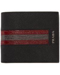 Prada - Black Saffiano Leather Logo Wallet - Lyst