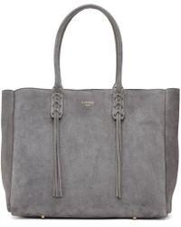Lanvin - Grey Suede Small Shopper Tote - Lyst