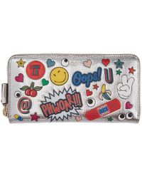 Anya Hindmarch - Silver Large All Over Wink Stickers Zip Around Wallet - Lyst