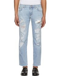 Dolce & Gabbana - Blue Faded Ripped Jeans - Lyst