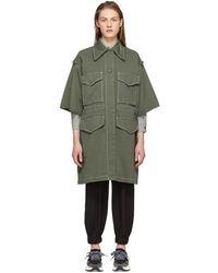 MM6 by Maison Martin Margiela - Khaki Short Sleeve Large Pocket Coat - Lyst
