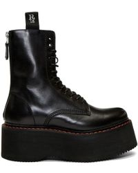 0fead6bfafba R13 - Black Double Stack Platform Lace-up Boots - Lyst