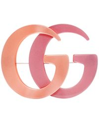 Gucci - Orange And Pink Double G Brooch - Lyst