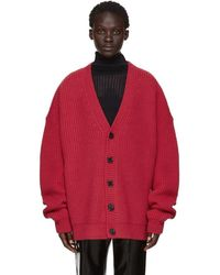 Raf Simons - Red V-neck Leather Patch Cardigan - Lyst
