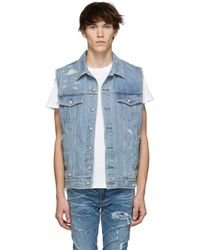 192673a6e7f6ba DSquared² Ripped Sleeveless Denim Jacket in Blue for Men - Lyst