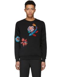 Paul Smith | Black Embroidered Flower Sweatshirt | Lyst