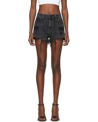 Alexander Wang - Grey Denim Bite Net Shorts - Lyst
