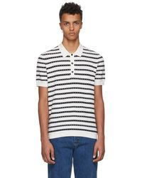 Burberry - White And Black Striped Polo - Lyst