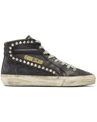 Golden Goose Deluxe Brand - Black Leather Studded Slide Trainers - Lyst