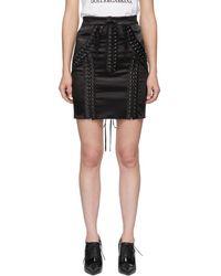Dolce & Gabbana - Black Silk Lace-up Miniskirt - Lyst