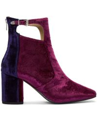 Toga Pulla - Tricolor Heeled Velvet Cut-out Boots - Lyst