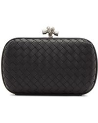 Bottega Veneta - Black Intrecciato Chain Knot Clutch - Lyst