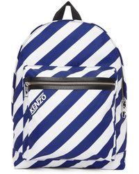 KENZO - Blue And White Striped Logo Rucksack - Lyst