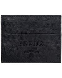 Prada - Black Saffiano Logo Card Holder - Lyst