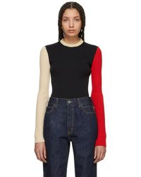 CALVIN KLEIN 205W39NYC - Black And Ecru Colorblock Sweater - Lyst