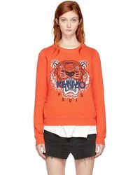 Kenzo Tiger embroidered Cotton Sweatshirt in Gray Lyst