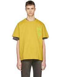 Second/Layer - Yellow Shattered Logo T-shirt - Lyst