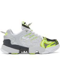Vetements - Grey And Yellow Reebok Edition Spike Runner 400 Sneakers - Lyst