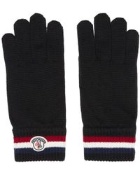 Moncler - Black Striped Logo Gloves - Lyst
