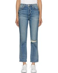 AMO - Blue Chloe Cropped High-rise Jeans - Lyst