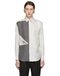 Givenchy - White And Black Silk Graphic Printed Shirt - Lyst