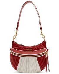 Miu Miu - Red And White Miu Rider Bag - Lyst