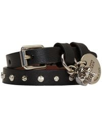 Alexander McQueen - Black And Silver Studded Skull Double Wrap Bracelet - Lyst