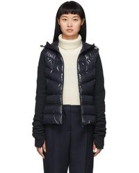 3 MONCLER GRENOBLE Navy Down Paneled Jacket - Blue