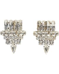 Saint Laurent | Silver Smoking Strass Clip-on Earrings | Lyst