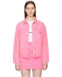 MSGM - Pink Oversized Embroidered Denim Jacket - Lyst
