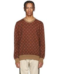 862d1deec7a6d4 Gucci - Brown And Orange GG Logo Sweater - Lyst