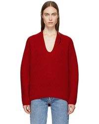 Acne Studios - Red Deborah Deep V-neck Sweater - Lyst