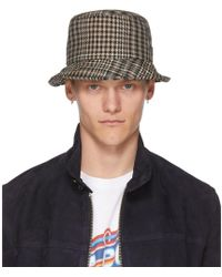 AMI - Beige And Black Houndstooth Bob Hat - Lyst