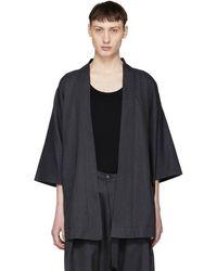 Blue Blue Japan - Navy Chill Wool Gabardine Kimono Cardigan - Lyst