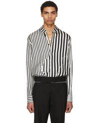 Haider Ackermann   White And Black Silk Classic Brucite Shirt   Lyst