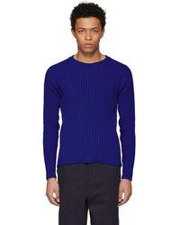 AMI - Blue Crewneck Sweater - Lyst