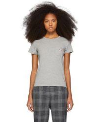 Maison Kitsuné - Grey Tricolor Fox Patch Pocket T-shirt - Lyst