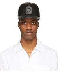 Neil Barrett - Black Leather Pierced Cap - Lyst