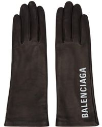 Balenciaga - Black Leather Gloves - Lyst