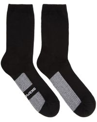 Rick Owens - Black Logo Stripe Socks - Lyst